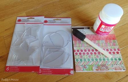 Baby Shower - DIY Favors - Ornaments-Scrapbook Paper-Mod Podge