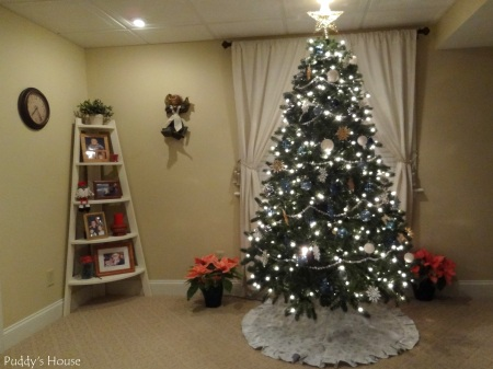 Christmas-Basement Tree with Christmas Shelves and Angel