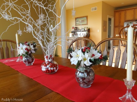 Christmas - DIY Centerpieces-Sprayed Branches with snowflakes-poinsettias-and-candlesticks
