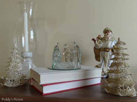 Christmas - Neutral Vignette with Santa trees and Nativity
