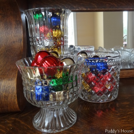 Christmas - Ornaments in Glass on Buffet