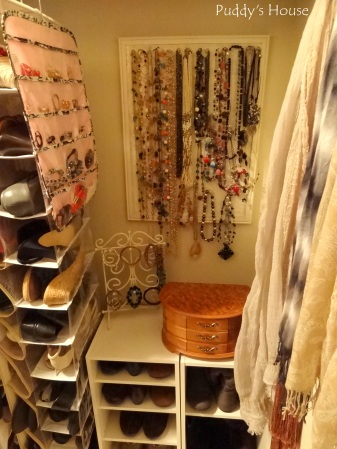Closet Reorganization - New Jewelry station with shoes and scarves