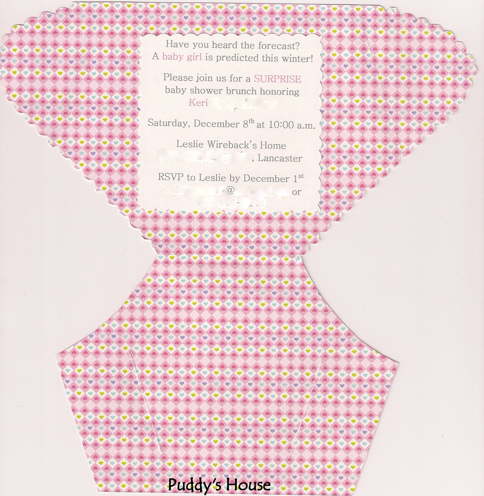 DIY Diaper Invitation Puddys House - Diaper baby shower invitation template