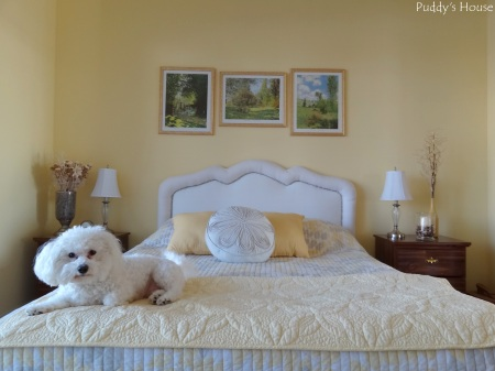 DIY Upholstered Headboard - After Nailhead Trim added - full guest room