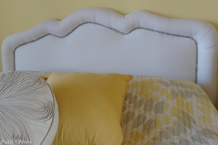 DIY Upholstered Headboard- After Nailhead trim- headboard shot
