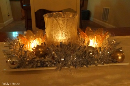 New Years - Centerpiece - candles tinsel ornaments mercury glass