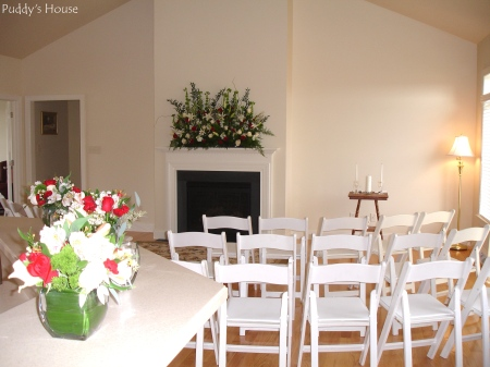 Wedding - View from Kitchen-Flowers-Chairs-Unity Candle