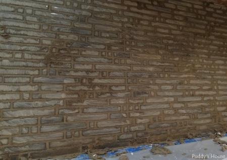 Bar Backsplash - Grout applied to tile