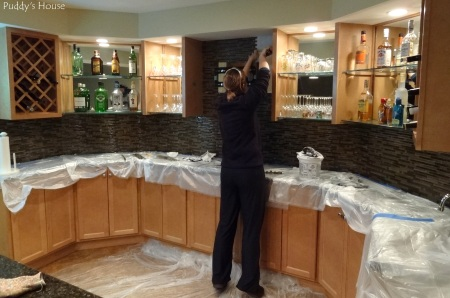 Bar Backsplash - Leslie tiling around tv