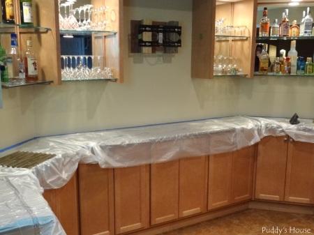 Bar Backsplash -Prepping with covering granite