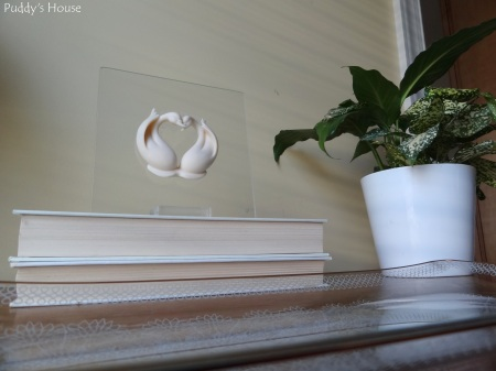Nightstand - Vignette-glass tray-two hearts-books-plant