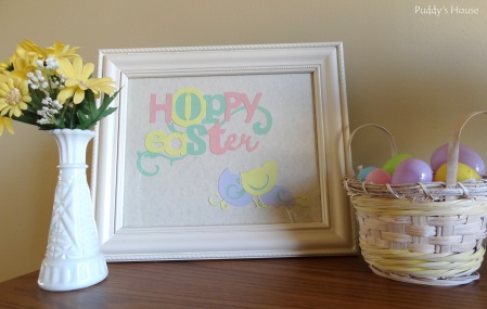 Easter Decorations - DIY Art using cricut - eggs in thrift basket - flowers in vase