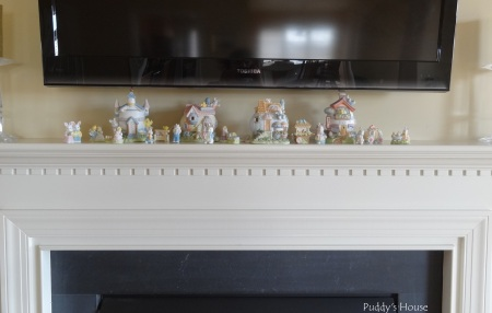 Easter Decorations - Easter village on mantle -no lights