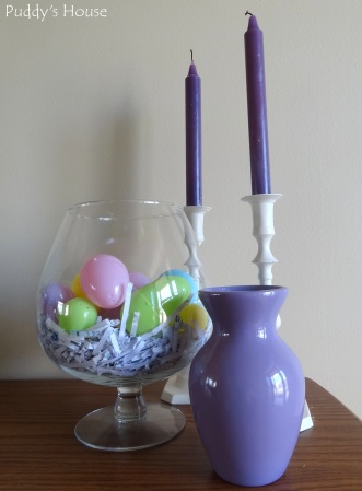 Easter Decorations - Eggs in vase and candlesticks and purple thrifted vase