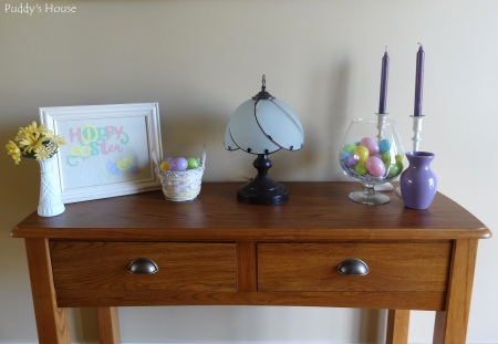 Easter Decorations - Foyer table with DIY ar and eggs in baskets and vases