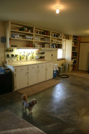 Garage Organization Inspiration - Cabinets and hanging shelves