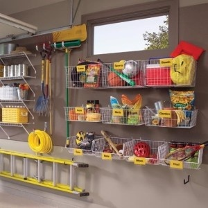 Garage Organization Inspiration - Hanging Wire baskets and shelves