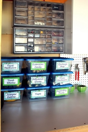 Garage Organization Inspiration - Labeled plastic containers
