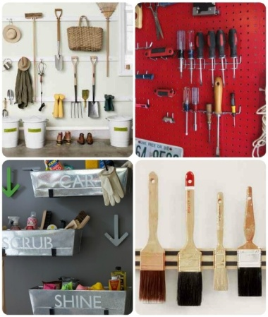 Garage Organization Inspiration - Painting and Tools hanging