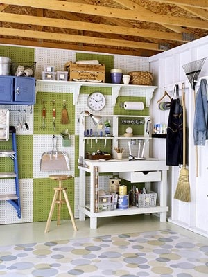 Garage Organization Inspiration - Shelves and Potting Bench