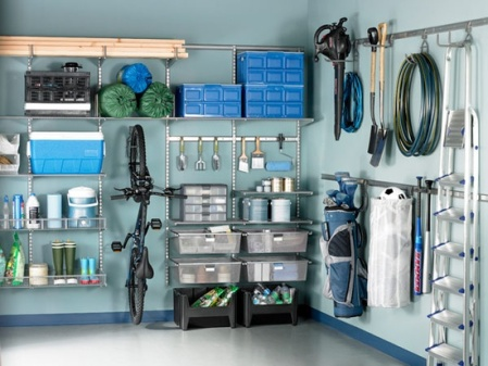 Garage Organization Inspiration - Shelving system with bike storage via women's day
