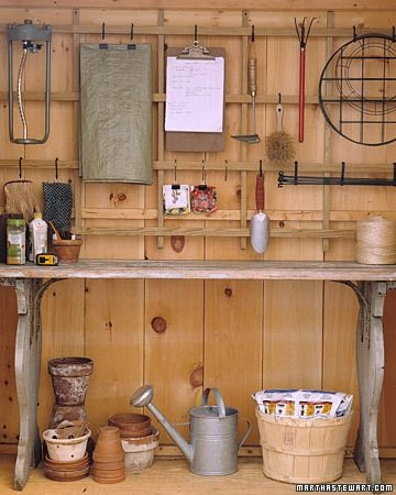 Garage Organization Inspiration -Table as Potting Bench