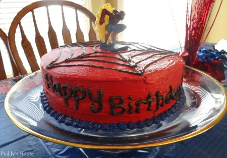Spiderman Birthday - Happy Birthday side of cake view