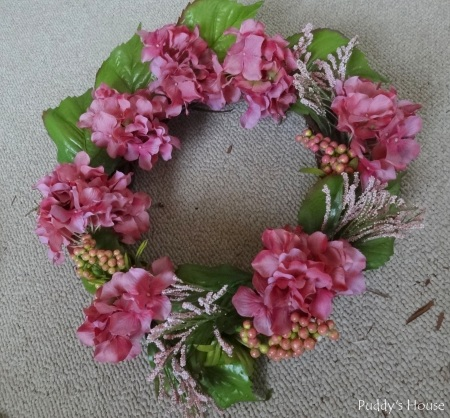 Spring Wreath - In process with hydrangea flowers leaves spray and berries
