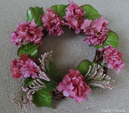 Spring Wreath - In process with hydrangea flowers leaves