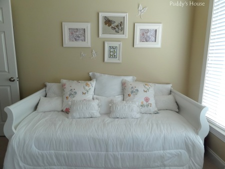 Craft Room - After sleigh bed with new pillows and wall art