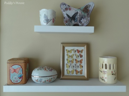 Craft Room - Butterfly decor on floating shelves