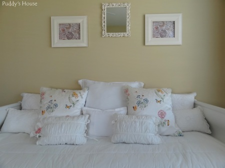 DIY Pillow Cases - After on craft room bed