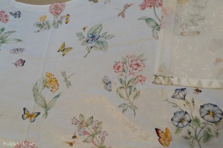 DIY Pillow Cases - Butterfly Shower Curtain before