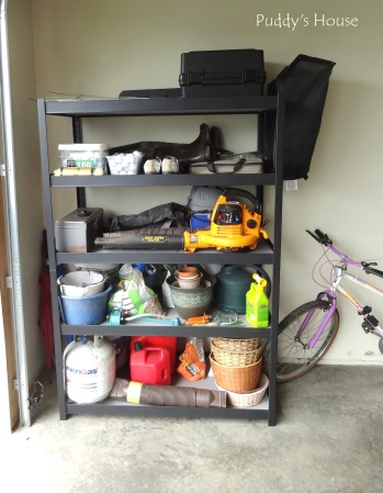 Garage - new shelf with gardening sports etc organized