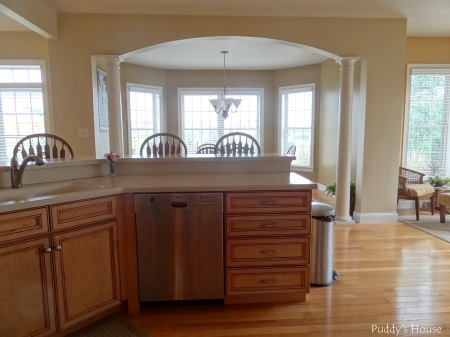 Kitchen - from stove into dining room and breakfast nook