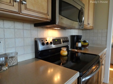 Kitchen - stove with tiled backsplash