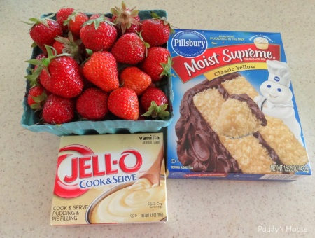 Strawberry shortcake - ingredients - strawberries vanilla pudding yellow cake