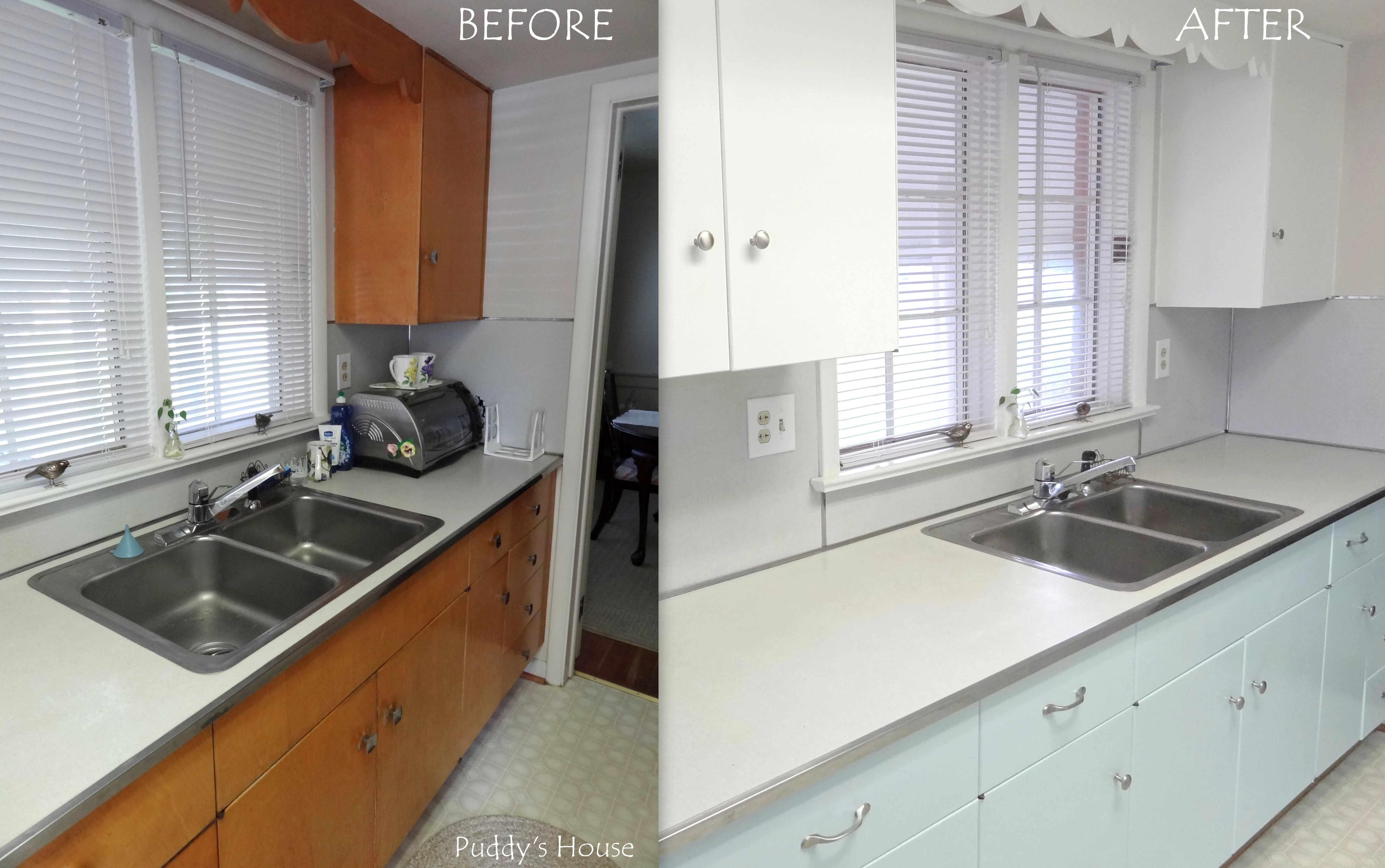 painted kitchen cabinets before and after kitchen makeover puddy s house 9051
