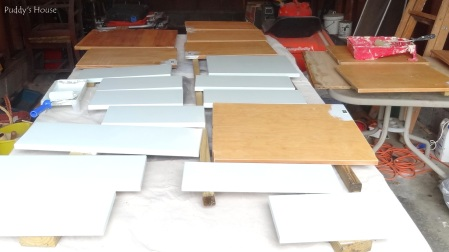 Kitchen Cabinets - drawers painted starting bottom doors