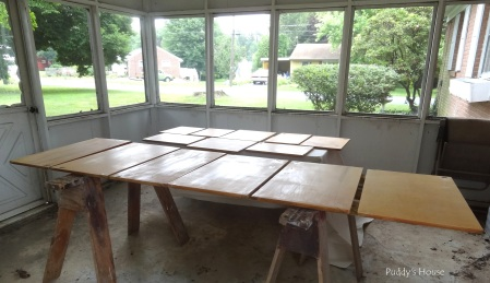 Kitchen Cabinets - set up in sunroom for painting